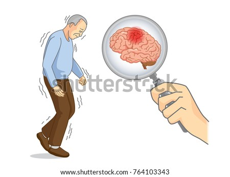Looking brain of Parkinson's disease patient with Magnifying glass. Illustration about elderly health care.