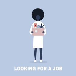 Looking for a job. Young black female character holding a box full of office stationery goods / flat editable vector illustration, clip art