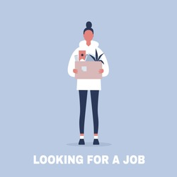 Looking for a job. Young female character holding a box full of office stationery goods / flat editable vector illustration, clip art