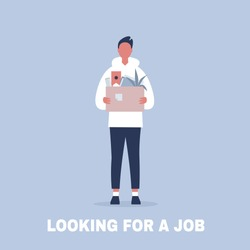 Looking for a job. Young male character holding a box full of office stationery goods / flat editable vector illustration, clip art