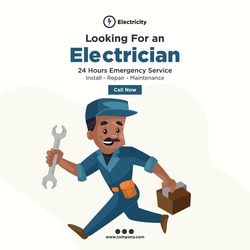 Looking for an electrician banner design for social media. Electrician in hurry with a toolbox and wrench for repair service. Vector graphic illustration.