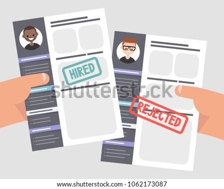 Looking for an employee. Comparing two CVs. Hands holding portfolios of two candidates. Competition. Flat editable vector illustration, clip art