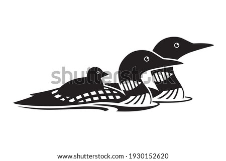 Loon family black and white vector icon Stockfoto ©