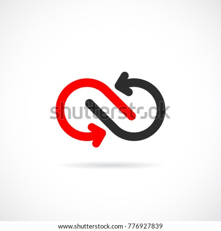Loop arrows vector logo design isolated on white background