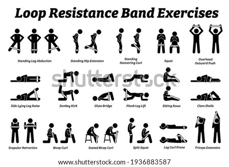 Loop resistance mini band exercises and stretch workout techniques in step by step. Vector illustrations of stretching exercises poses, postures, and methods with loop resistance band.  Foto stock ©