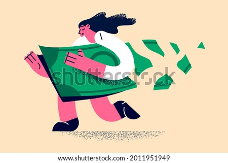 Loose money and financial loss concept. Business woman carrying damaged dollar investment in financial crisis, crumble and reduce in value vector illustration Foto stock ©