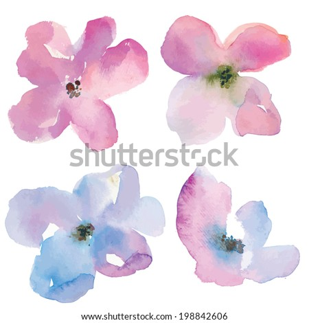 Loose Watercolor Vector Flowers. Vector Purple Watercolor Flowers