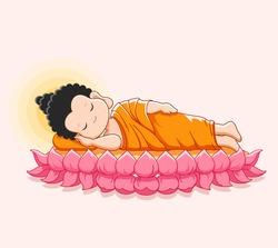Lord Buddha's nirvana on the lotus Happy vesak day -Vector illustration