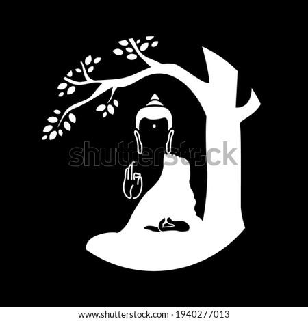 Lord Buddha. Symbol of buddha. Buddha silhouette for spa logo. Vesak day greeting background with Buddha under bodhi tree with leaf.