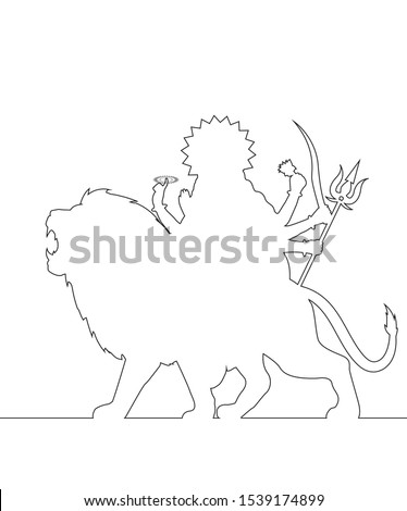 lord durga maa line art vector