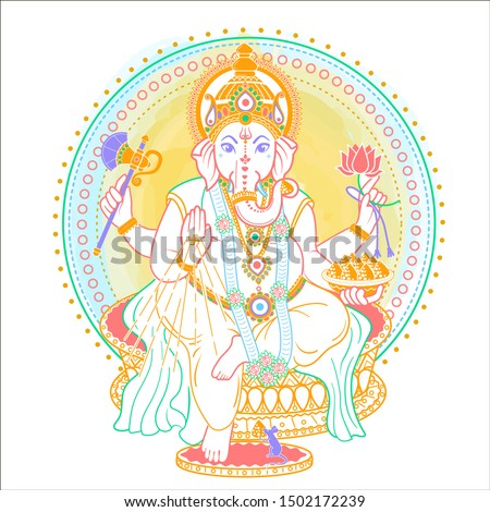 lord Ganesh. Ganesh Puja. Ganesh Chaturthi. It is used for postcards, prints, textiles, tattoo.