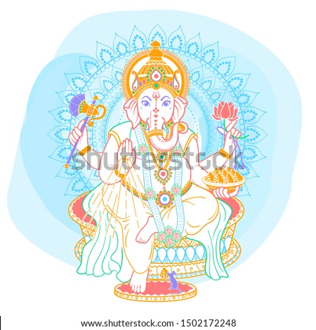 lord Ganesh. Ganesh Puja. Ganesh Chaturthi. It is used for postcards, prints, textiles, tattoo. Icon in the linear style