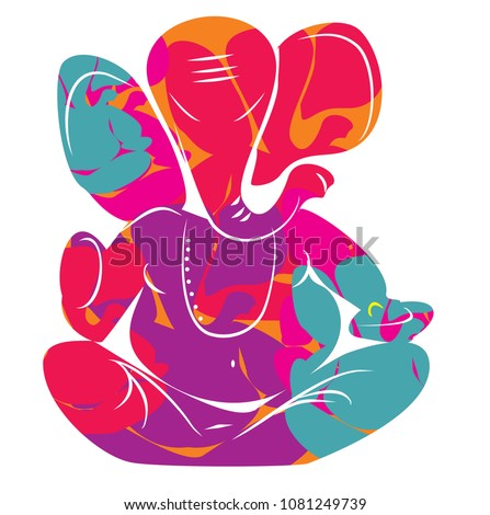 lord ganesh in color for card