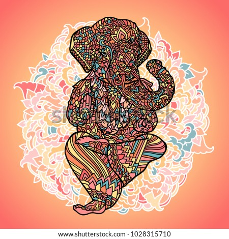 Lord Ganesha on indian mandala background. Asian pattern with leaves and flowers. Yoga style print. Colorful vector illustration.