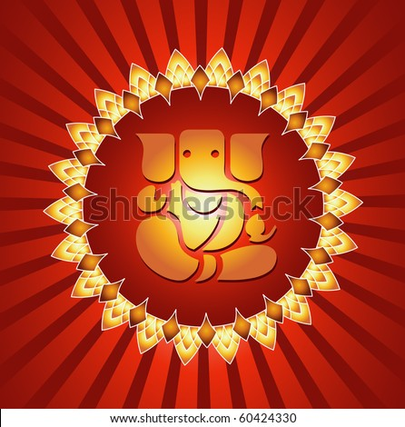 Lord Ganesha On Lighting Burst Background (Vector)