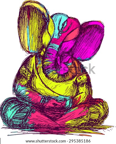 lord ganesha sketch  color