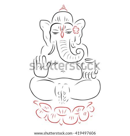 lord ganesha vector hand drawn