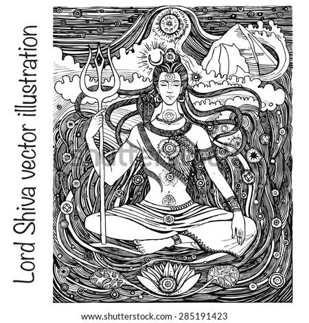 lord shiva hindu gods vector