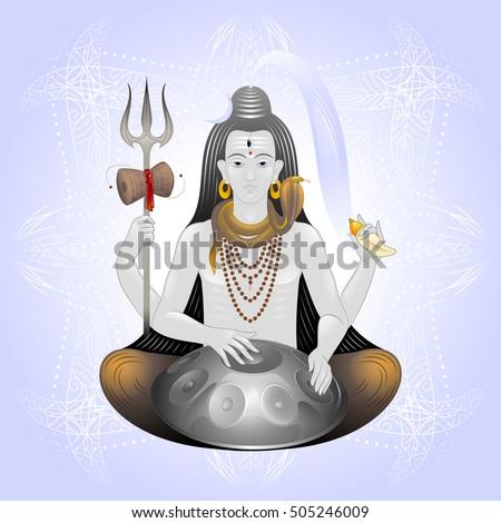 lord Shiva with trishul, damaru, seashell and musical
