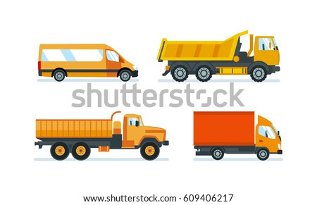 Lorries for transportation of goods and construction materials, heavy volume and weight, delivery, as well as a machines for transporting resources. Vector illustration isolated on white background.