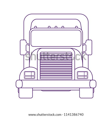 Lorry car front view. Heavy truck for transportation various objects. Road train. Front view. Line art style. Coloring book pages for adults and kids