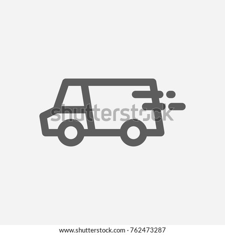 Lorry delivery truck icon line. Isolated symbol on logistics topic with lorry, delivery truck icon and van meaning vector illustration.