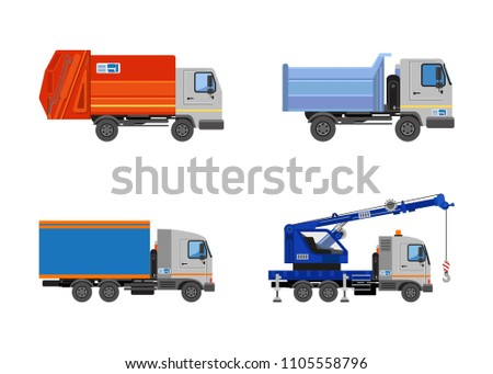 Lorry, garbage truck, tipper and mounted crane. Truck side view isolated. Construction machinery. Vehicles freight transportation. Truck vector icon.  Different commercial truck. Vector Illustration.