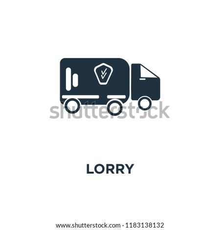 Lorry icon. Black filled vector illustration. Lorry symbol on white background. Can be used in web and mobile.