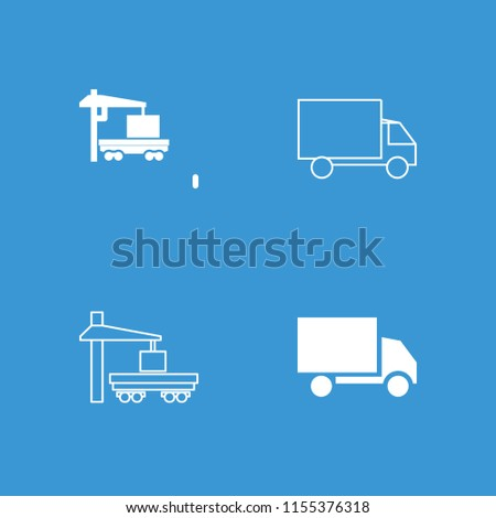 Lorry icon. collection of 4 lorry filled and outline icons such as cargo truck. editable lorry icons for web and mobile.