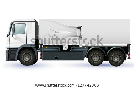 lorry or truck with glass bottel  to place your concept.