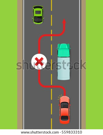 Lorry overtaking ban flat vector illustration. Passing on road rule violation on top view diagram. Traffic offences concept. Danger of car accident. Driving theory lesson. For driving courses test