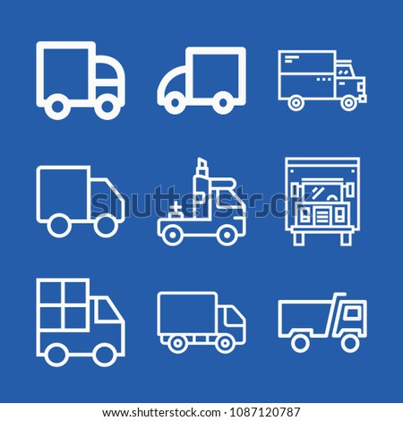Lorry related set of 9 icons such as lorry