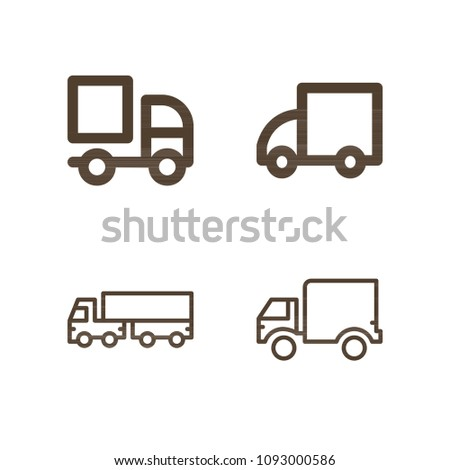 Lorry related set of 4 icons such as lorry