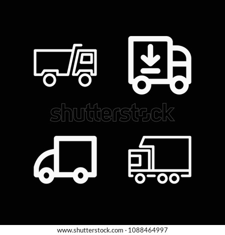 Lorry related set of 4 icons such as lorry, delivery truck