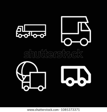 Lorry related set of 4 icons such as lorry, truck