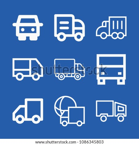 Lorry related set of 9 icons such as lorry, truck