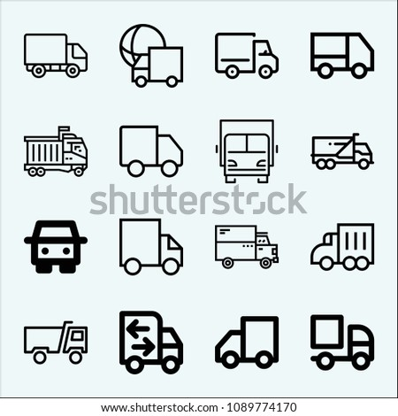Lorry related set of 16 icons such as lorry, truck