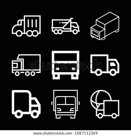 Lorry related set of 9 icons such as lorry, truck, delivery