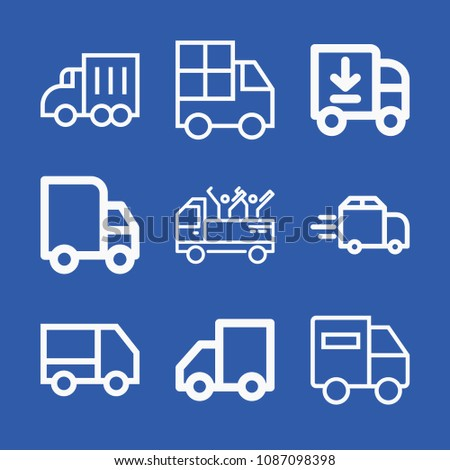 Lorry related set of 9 icons such as truck, lorry