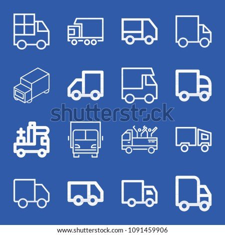 Lorry related set of 16 icons such as truck, lorry