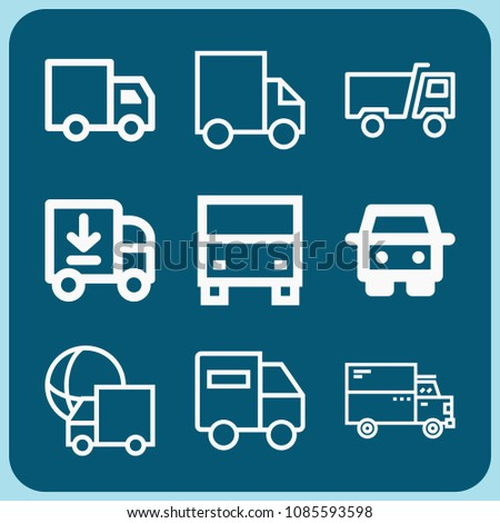 Lorry related set of 9 icons such as truck, lorry, delivery truck