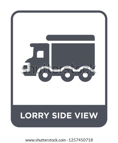 lorry side view icon vector on white background, lorry side view trendy filled icons from Mechanicons collection, lorry side view simple element illustration