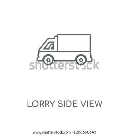 Lorry side view linear icon. Lorry side view concept stroke symbol design. Thin graphic elements vector illustration, outline pattern on a white background, eps 10.