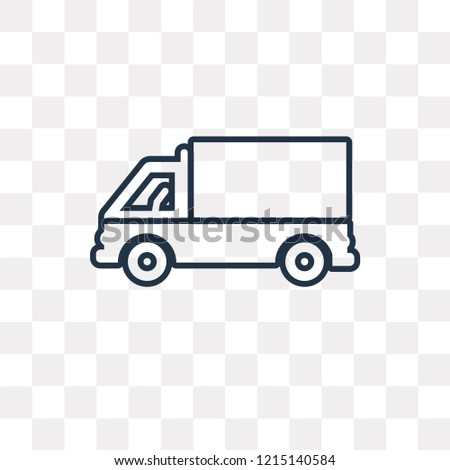 Lorry side view vector outline icon isolated on transparent background, high quality linear Lorry side view transparency concept can be used web and mobile