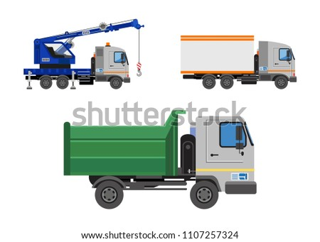 Lorry, tipper and mounted crane. Truck side view isolated. Construction machinery. Vehicles freight transportation. Truck vector icon.  Different commercial truck. Isolated Vector Illustration.