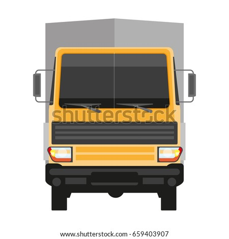 Lorry with grey trailer isolated on white front view
