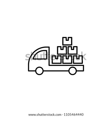 lorry with parcels outline icon. Element of logistic icon for mobile concept and web apps. Thin line lorry with parcels outline icon can be used for web and mobile on white background
