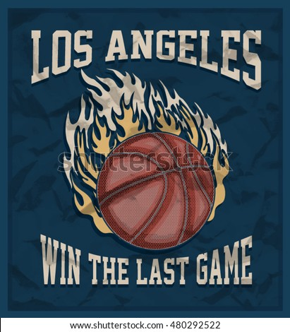 Los Angeles basketball team logo or sign of burning orange ball and text raiders below on gray. Can be used for exclusive sportswear or sport gear logotype or symbol, urban or street shirts. Stockfoto ©