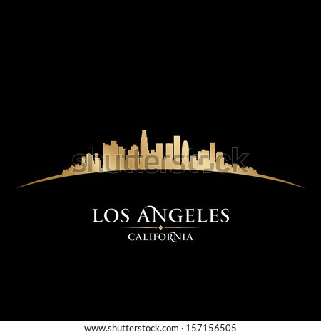 Los Angeles California city skyline silhouette Vector illustration