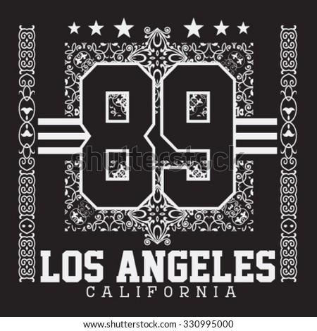Los angeles california college sport bandana typography for Los angeles california shirt